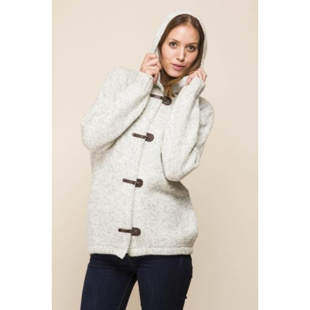 72db36c6 Fed strikket jakke / cardigan med hætte og flotte lukninger. 100% uld.  Lysegrå