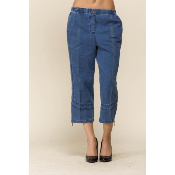 8634478a Jeans blå stumpebuks, med elastik i taljen - Bukser 3/4 og stump ...