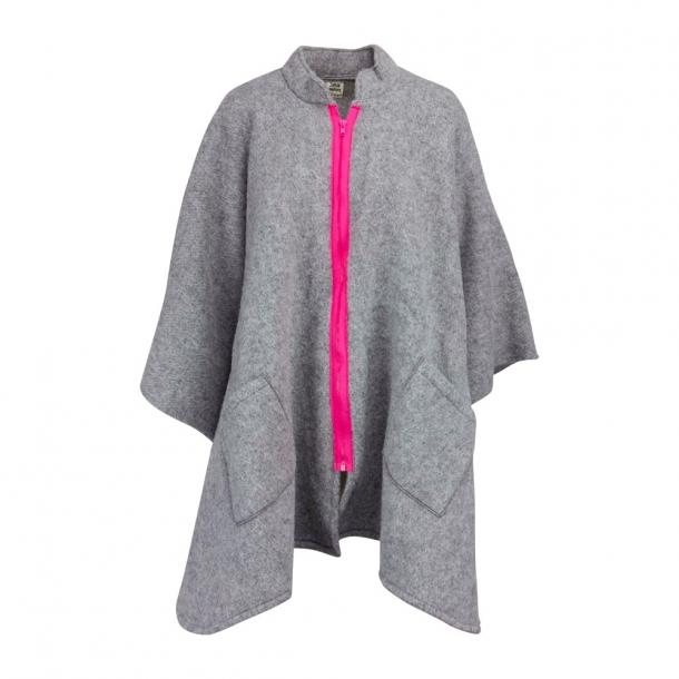 a21db5c9251 Poncho med halstørklæde, kontrastlyn og halstørklæde. 100% Ren Ny Uld