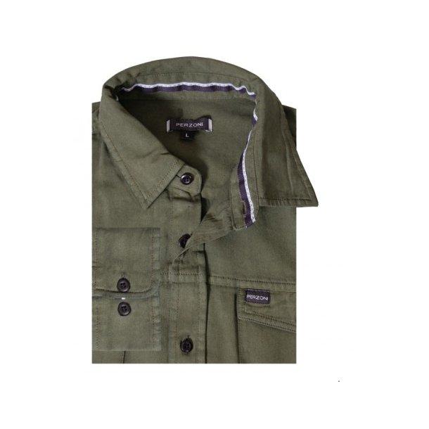Ensfarvet safariskjorte, bomuld TILBUD
