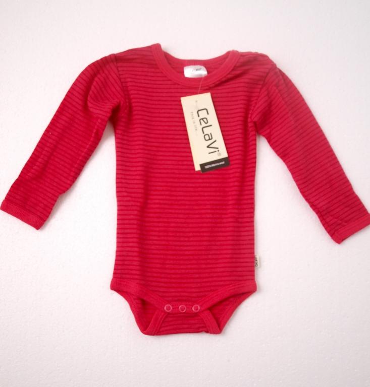Baby body, langærmet i 100% merinould - Uldundertøj - Samsø Nature