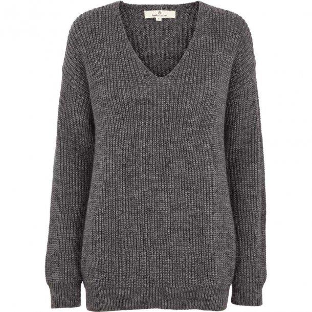 Strikket sweater, V-hals med uld TILBUD