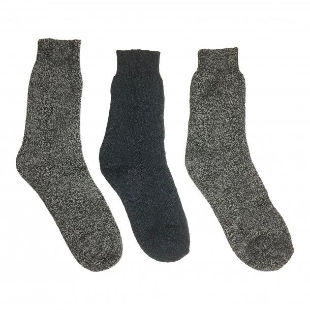 3-pack sokker med 80% uld. TILBUD